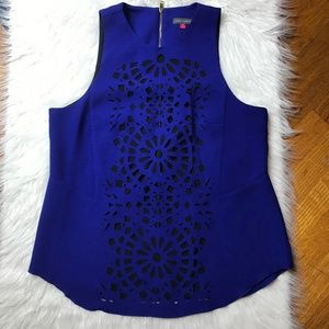 Vince Camuto Royal Blue Laser Cut Top